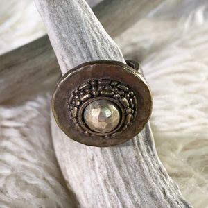 """🎈20% OFF SALE🎈""""Bronze Disc & Silver Dome Ring"""""""